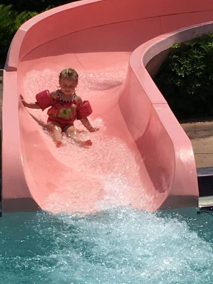 Emma coming down the slide Port Orleans 2017
